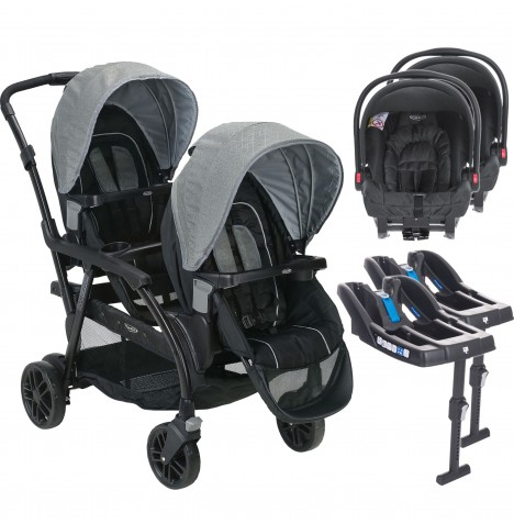 Graco Modes Duo Tandem Double Pram Twin Travel System with x2 Car Seat Bases (Snugride)